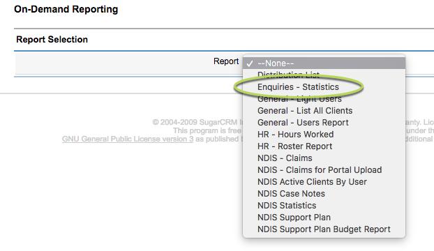 Enquiries Statistics report