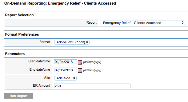 Emergency Relief Parameters Completed