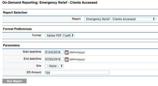Emergency Relief Clients Accessed parametera