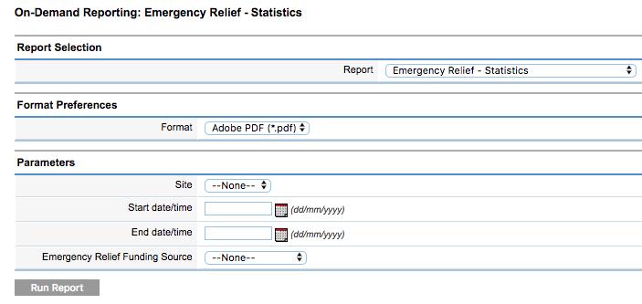 Emergency Relief Statistics Report Parameters